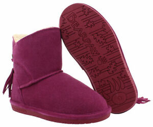 Bearpaw Girl's Pom Berry Pink Suede Fringe Booties Winter Boots Sz 2 Youth NEW