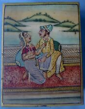 HAND PAINTING OF ROYAL COUPLE DECORATIVE PIECE INDIAN ART CAMEL BONE SMALL BOX 1