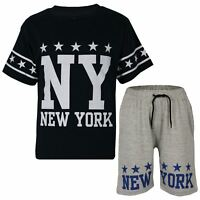 Kids Boys Girls T Shirt Shorts 100% Cotton NY New York Top Short Set Age 5-13Yrs