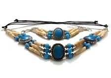 Native American Style Buffalo Bone Hairpipe Choker Necklace And Bracelet Set