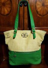 Emma Fox Green Leather & Beige Syntethic Blend Shoulder Shopper Bag **Nice