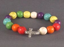 Christian Bracelet Stone Beads Silver Cross Rhinestone Accent MULTICOLOR NIce!