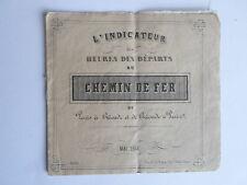 Indicateur CHEMIN de FER heures des départs PARIS BRIOUDE BRIOUDE PARIS MAI 1861