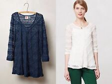 ANTHROPOLOGIE COLETTE PULLOVER SHEER LACE TOP BY LILKA NAVY BLUE NWT S