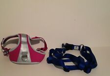 TOP PAW DOG HARNESS, PINK, SIZE: M + DOG HARNESS, NAVY, SIZE: L