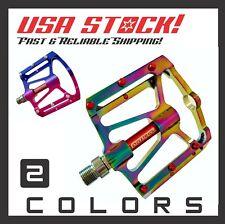 "BMX/MTB/DH Bicycle CNC Flat Platform Pedals Sealed Bearings/Oil Slick 9/16"""