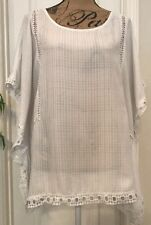 Gibson Latimer White Lace Trimmed Tunic/Ruana - Size XL