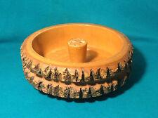 Vintage 1960s-1970s Nut Bowl Serving Bowl Incense Burner Carved Wood Log Cabana