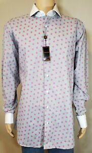 New Steven Land Men/'s Multi Polka Dot 100/% Cotton Dress Shirt Style DW621