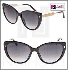cb012a8e0f4e7 GUCCI GG3804S DAMASCATO Black Silver Gold Cat Eye Sunglasses 3804 Gradient  Women