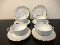 Set Of Winterling Bavaria ivory Tea cups & Saucers Gold Lined Germany 10 Pieces