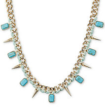 Rachel Roy Turquoise Stone & Gold-Tone Spike Mint Wrap Collar Necklace $46