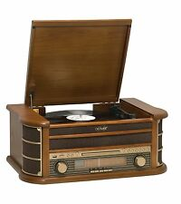 Denver MCR-50MK2 Retro Plattenspieler aus Holz Radio CD Kassette USB MP3 Cinch