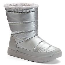 Tek Gear Women's Size 10 Hazel Silver Grey Puff Faux Fur Winter Snow Boots NEW