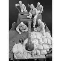 1/35 Resin US Sherman Crew 5 Figures W/Sandbags No Tank Unpainted Unbuild 4529