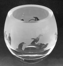 More details for penguin frieze boxed crystal glass tea light holder