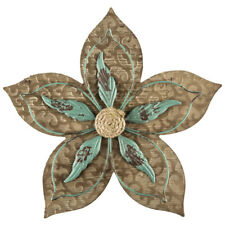Rustic Turquoise Flower Wood Wall Decor Home Office Cabin Shabby Chic Decor