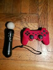 PS3 Red Official Sony Dualshock 3 L CECHZC2U + Motion CECHZCM1I Controllers