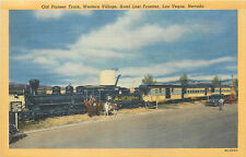 Linen Postcard AH B688 Old Pioneer Train Western Village Hotel Las Vegas Nevada