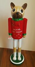 """Dog Nutcracker Wooden 14.5"""" Dog Lover Red Sweater Christmas Holiday Decor NEW"""