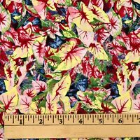 4+ Yds Cotton Quilting Fabric Floral Leaf PAINTED MEADOWS by RJR 2006 Multicolor