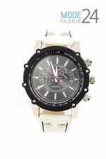 Herrenuhr Jay Baxter echt Lederarmband Watch Uhr Weiß Schwarz  Chrono Look