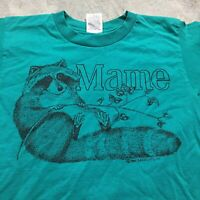 90s VTG MAINE TOURIST T Shirt Raccoon Nature Wildlife Fruit Of The Loom Best S