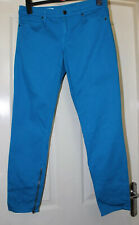 Gap Bright Blue Ankle Grazer Skinny Jegging Jeans With Leg Zips Size 12
