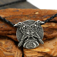 Men's Vintage Silver Norse Viking Odin Double Raven Pendant Necklace Amulet Gift