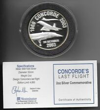 2oz Silver   Concorde's last flight medal , 2003, Boxed with COA