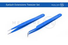 Medline Tweezers Straight Curved For Individual Eyelash Extensions Colored