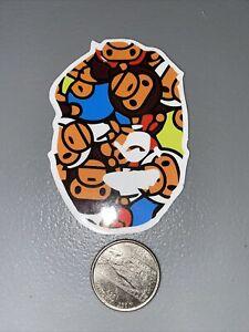 "BAPE ape 2.5""x2"" Vinyl STICKER Skateboard Luggage World Travel Gondola no bends"