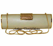 Anthony David Ivory Cream Leather Gold Clutch Evening Bag w/ Swarovski Crystals