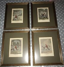 4 x Antique Framed Horse Etchings Prints - J E Ridinger - German 19th C