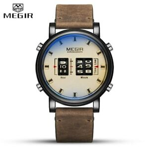 Quartz Analog Leather Drum Roller Business Watch for Men MEGIR Relogio Masculino