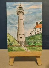 aceo card-original watercolour painting- Lighthouse, aceo, free postage