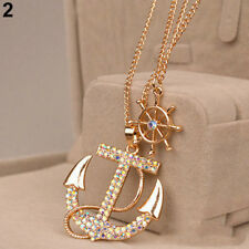 New Popular Gold Double Chain With Big Rhinestone Long Anchor Pendant Necklace