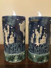 "Two ""NOEL"" Hand-Painted Pillar Candle Holders with Battery Operated Tea Lights"
