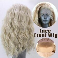 Women Synthetic Hair Natural Wavy Lace Front Wig Lady Golden Blonde Curly