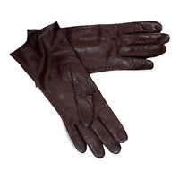 Vintage Brown Leather Gloves Women's Size 6.5 Silk Lined