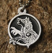 Tribal Howling Wolf pendant Pewter Necklace with chain