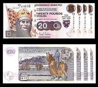Robert The Bruce - Scotland  - 20 Pounds - 4 Consecutive Uncirculated Notes