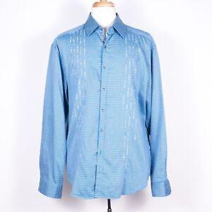 Robert Graham Embroidered Poly/Silk Blend Blue Button-Up Dress Shirt - 2XL/2TG