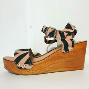 Mister Zimi Shoes Sz 40 Pink Black Stripes Strappy Wooden Wedge Heel Sandals