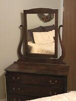Antique Oak Dresser With Mirror