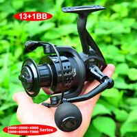 1X Metal Spinning Reel 2000-7000 Fishing Reels Casting13+1BB Anti-seawater Wheel