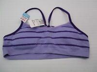 new HANES BR1121 Youth Girl Size XL Stripe Print Lightly Padded Purple Bralette