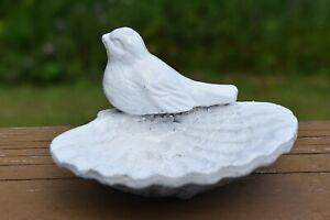 Vintage Cast Iron Shell Enameled White Bird Feeder
