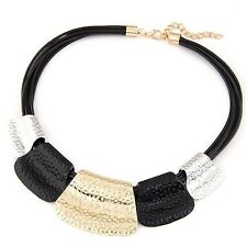 Trendy Chunky Jewellery~ Black Gold Silver Statement Faux Leather Necklace Chain