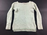 J Crew Womens White Green Long Sleeve Knitted Sweater Size 2XS Petite